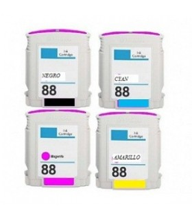 HP 88XL Pack 4 cartuchos hp 88XL compatibles (1 negro, 1 cian, 1 magenta y 1 amarillo) officejet pro series