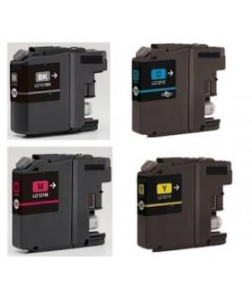 pack 4 tintas Brother LC121 DCP J152W/J552DW/J752DW MFC J470DW/J650DW/J870DW