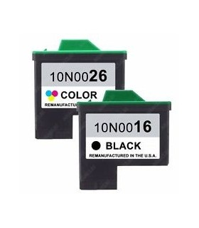LEXMARK 16+ LEXMARK 26 pack cartuchos compatibles Lexmark 16 Negro + Lexmark 26 Color