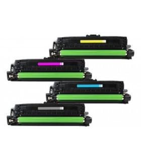 CE740A/1/2/3 PACK 4 TONERS compatibles HP CP 5220 / CP 5225 (BK-C-M-Y)