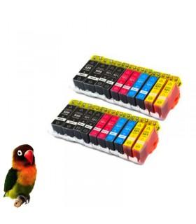 (pgi-520bk / cli-521 bk/c/m/y)  Pack 10 cartuchos tinta (con Chip) compatibles canon