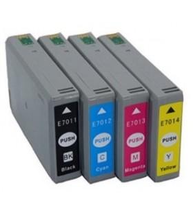 Epson T7011-T7012-T7013-T7014 pack 4 cartuchos de tinta compatibles Epson T7011-T7012-T7013-T7014
