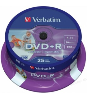 DVD + R VERBATIM 16X PHOTO PRINTABLE TARRINA 25