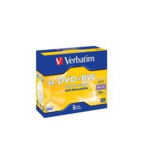 VERBATIM DVD+RW MATT SILVER (PLATA) 4X JEWEL CASE 5 UDS.