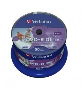 Dvd+r doble capa photo printable verbatim tarrina 50 uds. 8x