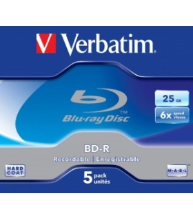 Verbatim blu ray bd-r sl 25gb 6x printable 5 pack