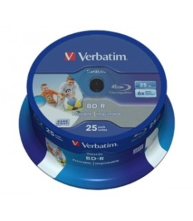 Blu-ray BD-R HTL SL Datalife 25GB 6X Verbatim Wide Printable Spindle 25 uds