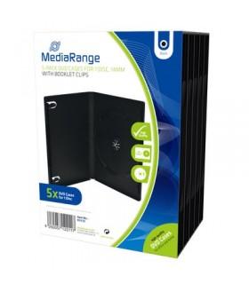 MediaRange Caja DVD 14mm 5 uds - Negro