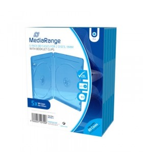 Caja BluRay Doble 11mm (No Sobrepuestos) MediaRange 5 uds