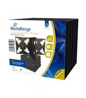 MediaRange Caja CD Jewel p/4 discos Pack 5 uds