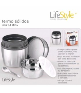 TERMO SOLIDOS LIFESTYLE INOXIDABLE 1.4LITROS