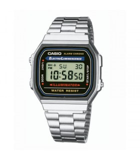 Reloj  clasico retro  collection CASIO A168WA-1YES multifuncional - acero inoxidable - water r.