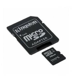Tarjeta MicroSDHC 16GB Clase 4 Kingston c/Adaptador SD SDC4/16GB