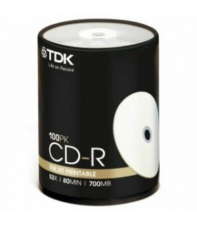 CD-R InkJet Printable Full Face Blanco TDK Tarrina 100 uds