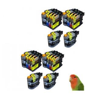 LC123 BROTHER pack 10 cartuchos compatibles Brother LC123 (4 negros + 2 por color) con chip