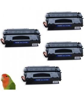 pack 4 Toner para HP Q7553X Negro Capacidad para LaserJet P2015 (7000 pag) COMPATIBLE