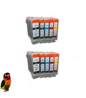 Canon BCI-3BK BCI-6 BK-C-M-Y  pack 10 cartuchos compatibles(2 por color)