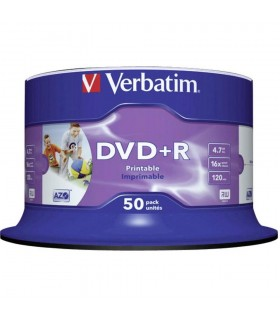 DVD+R 16x Verbatim Printable WIDE NO ID Tarrina 50 uds