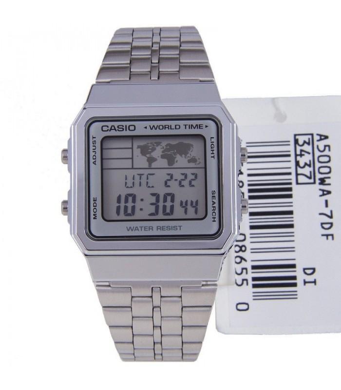 a087b7675eba reloj hombre mujer Casio A500WA-7A hora mundial plateado