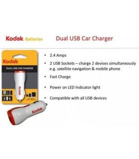 ADAPTADOR USB DE COCHE DUAL KODAK 2.4A 12V-24V