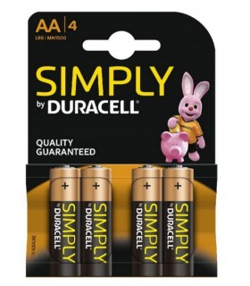PILAS ALCALINAS DURACELL Simply AA PACK 4