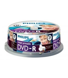 Philips DVD-R 120 Mins 4.7GB 16x Speed Inkjet Printable Blank Discs - 25 Pack