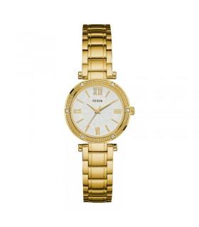 reloj Guess Mujer u0767l2 Dressy Gold-tone Reloj con esfera blanca, bisel Crystal-Accented y piloto de acero inoxidable hebilla