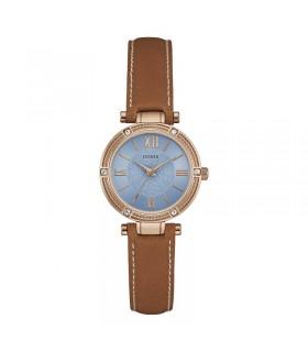 reloj Guess Mujer u0838l2 Dressy Rose Gold-Tone Reloj con esfera azul, Crystal-Accented Bisel y correa de piel genuina hebilla