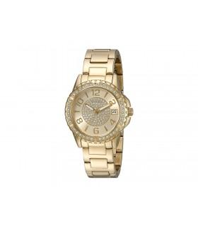 Guess Mujer u0779l2 Gold-tone Acero Inoxidable Multifunción reloj deportivo con fecha Dial y Pilot Hebilla