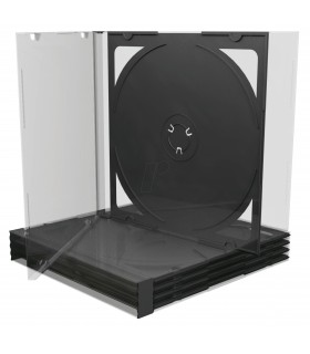 Caja CD Jewel 2 discos Bandeja Negra Pack 5 ud MEDIARANGE