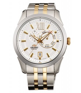 Reloj hombre automático Orient FET0X002W Men Watches : White Dial 2 Tone Gold Stainless Steel