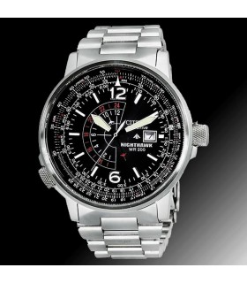 "Reloj hombre Citizen Men's BJ7000-52E ""Nighthawk"" Stainless Steel Eco-Drive Watch (energía solar)"