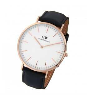 Reloj hombre Daniel Wellington Sheffield Rose 0107DW Black Leather 40mm Men's Watch correa cuero