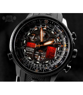Reloj hombre Citizen Navihawk A-T Black Dial Black Rubber Men's Watch JY8035-04E energía solar