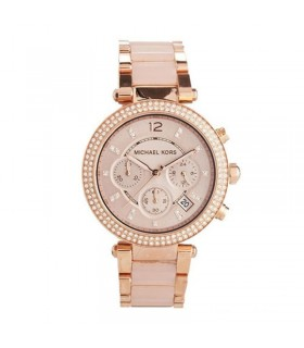 reloj mujer Michael Kors Parker Rose Gold Blush MK5896 Watch for Women Blush Crystal Set