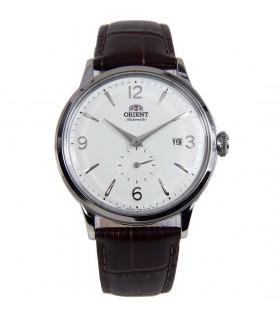 Reloj hombre automático Orient RA-AP0002S esfera plateada correa cuero marrón