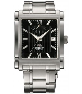 reloj hombre automático Orient Power Reserve FFDAH003B negro rectangular correa acero