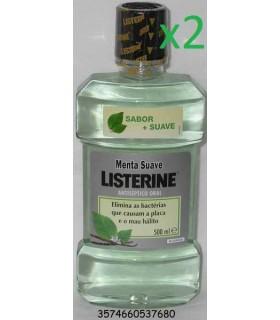 Pack 2 unidades Listerine menta suave Enjuague Bucal 500ml - Listerine