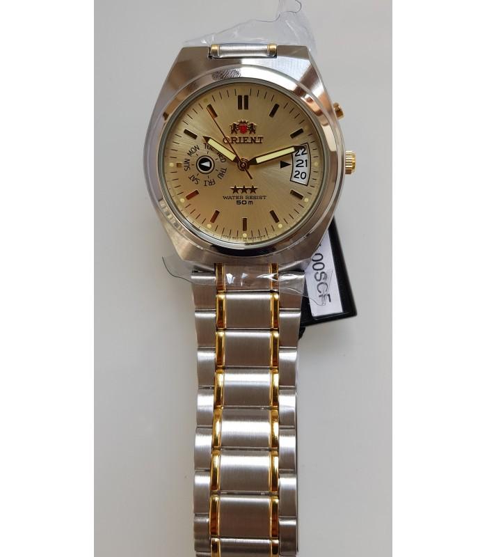 reloj hombre automático Orient Tristar FEM5L00SC beige acero