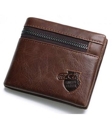 Cartera de cuero genuino marrón con cremallera 12,5 cm x 10 cm x 2,5 cm.