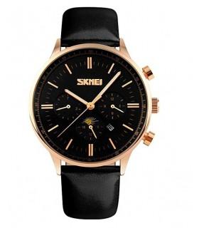 Reloj hombre cuero Skmei fases lunares negro dorado