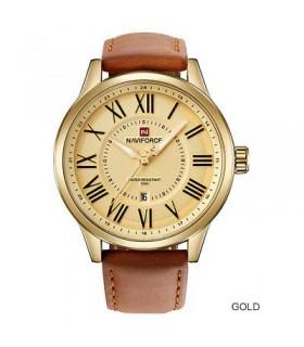 reloj hombre Naviforce 9126 correa cuero dial dorado