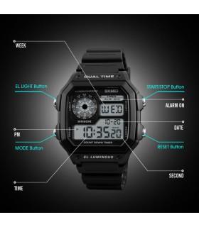 Reloj deportivo digital hombre SKMEI 1299 50m impermeable - negro hora dual