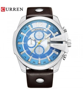 Reloj hombre Curren cuero marrón dial azul cuarzo