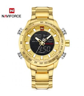 reloj hombre deportivo militar Naviforce military sport steel men's watch LED DORADO