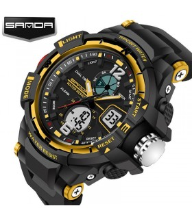 reloj hombre deportivo militar G-type Sanda 289 DORADO military men's watch sports rubber