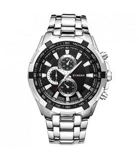 Reloj CURREN 8023 de cuarzo para hombre esfera redonda correa de acero inoxidable resistente al agua