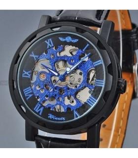 Reloj mecánico cuerda Winner acero azul correa cuero
