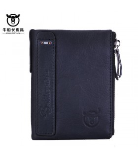Cartera de cuero para hombre genuine leather men's wallet purse negra