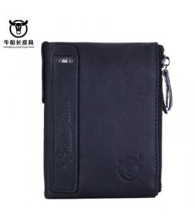 Cartera de cuero para hombre genuine leather men's wallet purse negra